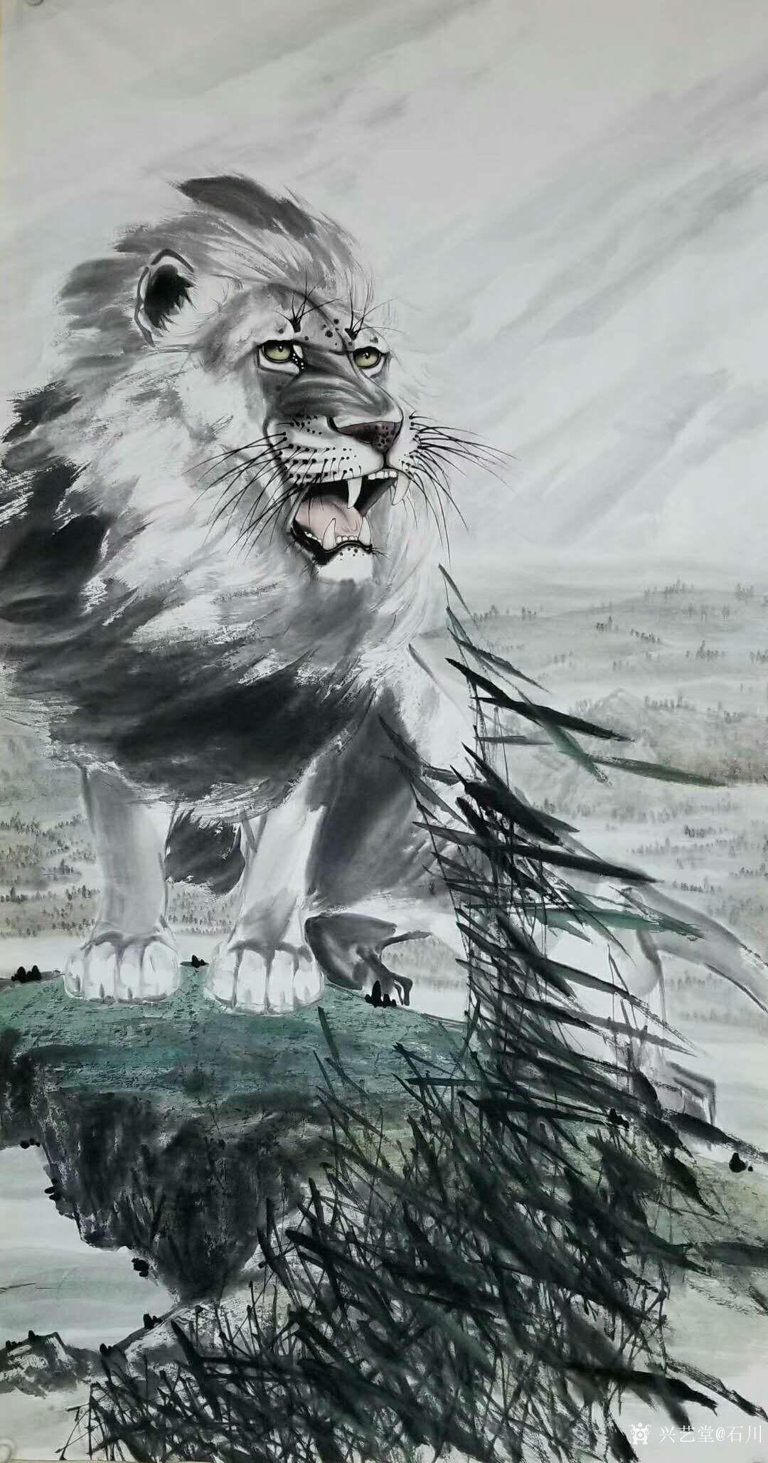国画动物画系列之雄狮《王者之风》