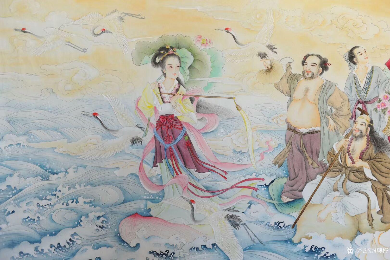 新作工笔人物画《八仙过海》,尺寸98x180cm,请欣赏,手工绘制,欢迎订制