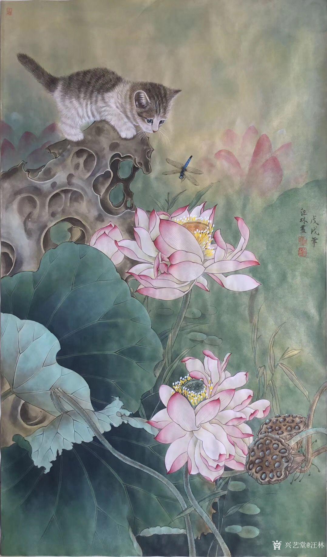 汪林-新作国画工笔画《松鼠葡萄》尺寸60×60