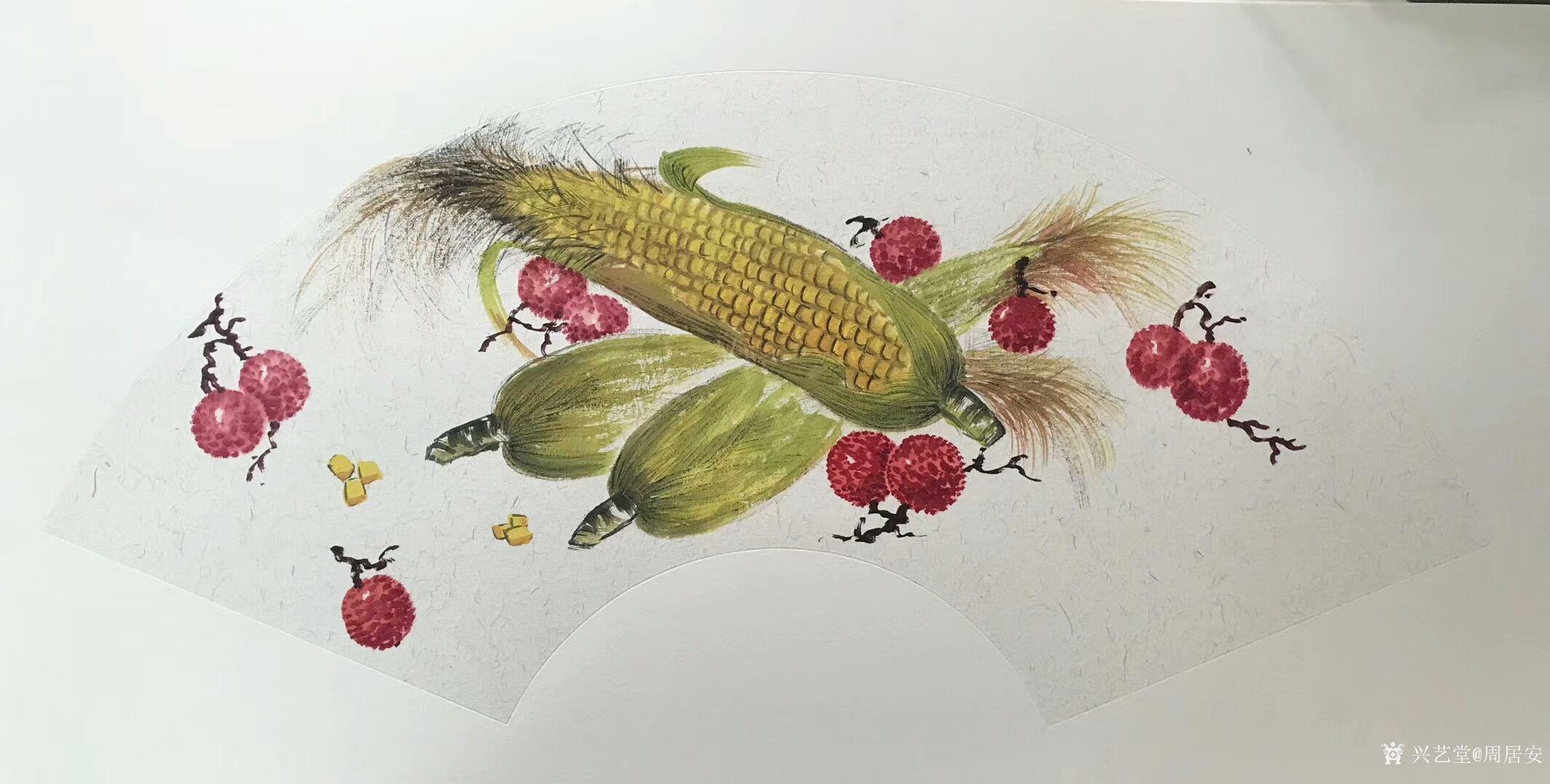 周居安-国画静物写生系列作品《荷花金鱼》《白菜西