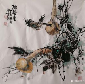 艺术品图片:艺术家邢坤国画作品《纳福图》议价