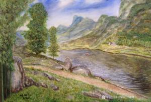 艺术品图片:艺术家邹宝远油画作品《山中人家》价格10560.00 元