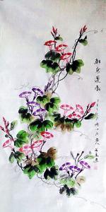 艺术品图片:艺术家李万勤国画作品《四尺整张牵牛花》价格200.00 元