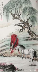 艺术品图片:艺术家郭浩艺国画作品《双马图-神仙眷侣》议价