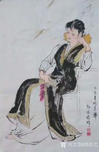 艺术品图片:艺术家郭浩艺国画作品《仕女人物画-小憩》议价