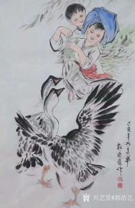 艺术品图片:艺术家郭浩艺国画作品《仕女人物画-放鹅图》议价