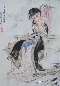 艺术品图片:艺术家郭浩艺国画作品《仕女人物画-思春图》议价