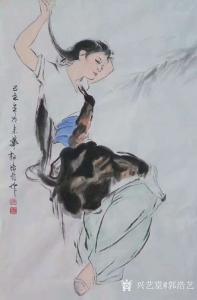 艺术品图片:艺术家郭浩艺国画作品《仕女人物画-风》议价