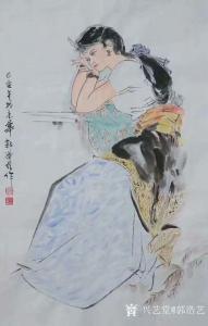艺术品图片:艺术家郭浩艺国画作品《仕女人物画-等你》议价