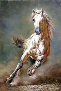 艺术品图片:艺术家郭浩艺油画作品《奔马图2》议价