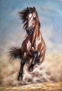 艺术品图片:艺术家郭浩艺油画作品《奔马图3》议价