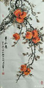 艺术品图片:艺术家刘建岭国画作品《事事如意(柿子)》价格800.00 元