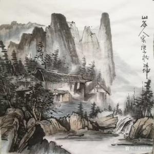艺术品图片:艺术家张祖坤国画作品《山水-山谷人家》议价