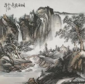 艺术品图片:艺术家张祖坤国画作品《山水-烟雨桥边》议价