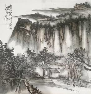 艺术品图片:艺术家张祖坤国画作品《山水-峡谷太行》议价