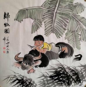 艺术品图片:艺术家谷风国画作品《人物-归牧图》价格800.00 元
