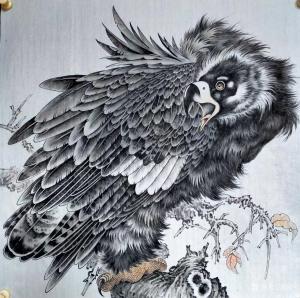 艺术品图片:艺术家谷风国画作品《鹰-回首》价格800.00 元