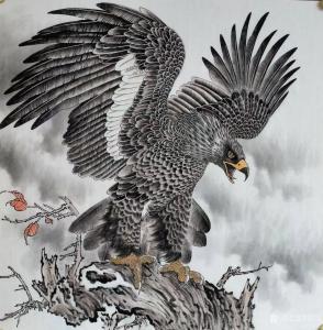 艺术品图片:艺术家谷风国画作品《鹰-大展宏图》价格800.00 元