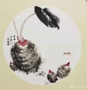 艺术品图片:艺术家李伟强国画作品《花鸟-芋头》议价
