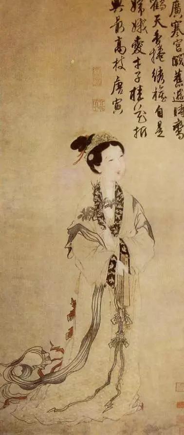 唐寅 嫦娥执桂图 纸本设色 135.3×58.4厘米 美国大都会艺术博物馆藏