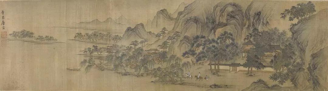 唐寅 水村行旅图 绢本设色 31.4×115.2cm 美国印第安纳波利斯艺术博物馆