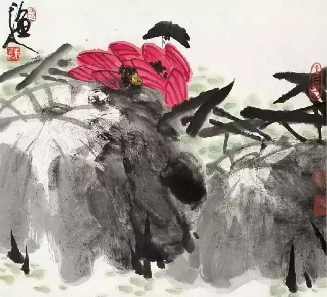 国画大师张立辰 荷花作品欣赏