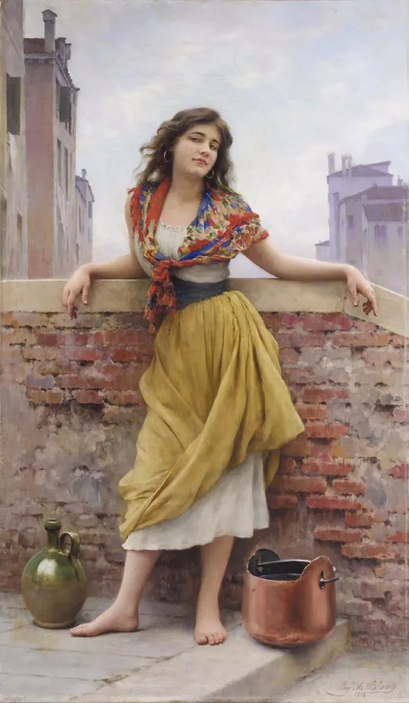 布拉斯油画中充满生活气息的平民女子