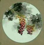 李津日志-工笔作品,45厘米直径、二平尺的葡萄精品团扇作品,可以看到葡【图3】
