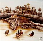 杨金婷日志-烙画作品《农家院》《丰收》,杨金婷作。【图1】