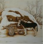 杨金婷日志-烙画作品《农家院》《丰收》,杨金婷作。【图2】