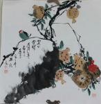 丁建坤日志-斗方四幅 国画 《笑口常开》 《金秋》《秋色》《笑口常开》 【图4】