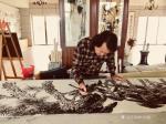 叶仲桥日志-天道酬勤,三十米花鸟画长卷最后一组松鹤到月底就可以完成! 【图1】