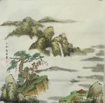 贾芳日志-国画山水作品《寒江垂钓》,尺寸66*66cm。 贾芳【图1】