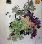 杨凌日志-最近完成四尺斗方的彩墨葡萄。颗颗晶莹剔透让人垂涎欲滴。【图1】
