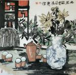 魏杰日志-为一位德高望重的老师画的二幅画《品茗图》《厚德载物》。 魏【图1】