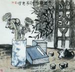 魏杰日志-为一位德高望重的老师画的二幅画《品茗图》《厚德载物》。 魏【图2】