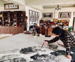 叶仲桥日志-《高山流水遇知音》,韩国归来画了几张松树,以有一张丈二尺整纸【图4】