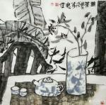 魏杰日志-国画《清茶》四幅,一杯茶品平凡人生,平常心看大千世界。欢迎品【图1】