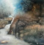 陈刚日志-国画山水《峡谷溪流》,九华天池写生作品。局部图,接近写实,越【图1】