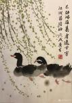 石广生日志-国画《杨柳晓岸》 写字剩墨不忍弃,涂对黑鸭水中戏。烂笔破纸【图1】