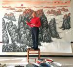叶向阳日志-翰墨颂中华:《泰山雄风》。近日在元汉大厦用了一周时间精心创作【图5】