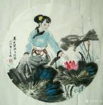 于波日志-国画人物画《休闲时光》小品系列。《莲出碧波分外嫣》《瑞犬解人【图1】