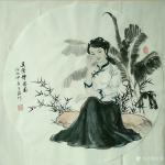 于波日志-国画人物画《休闲时光》小品系列。《莲出碧波分外嫣》《瑞犬解人【图4】