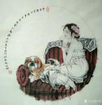 于波日志-国画人物画《休闲时光》小品系列。《莲出碧波分外嫣》《瑞犬解人【图5】