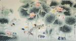 韩梅日志-工笔花鸟画《荷塘戏鸭图》完工,六尺整张,配整体图和局部图,供【图1】