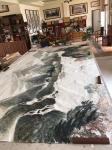 叶仲桥日志-这张《大地生辉》的大画,是由一位本土企业家订制的大画(装裱后【图3】