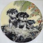 于波日志-国画《三只流浪狗儿》,尺寸50*50cm 保护生态,爱护动【图1】