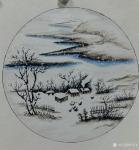 许贵才日志-近期画的国画山水画斗方《春》《夏》《秋》《冬》,尺寸50*5【图4】