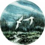 吴朝阳日志-爱情系列花鸟画《比翼双飞》,双鹤,双燕,双天鹅,尺寸四尺斗方【图2】