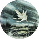 吴朝阳日志-爱情系列花鸟画《比翼双飞》,双鹤,双燕,双天鹅,尺寸四尺斗方【图3】